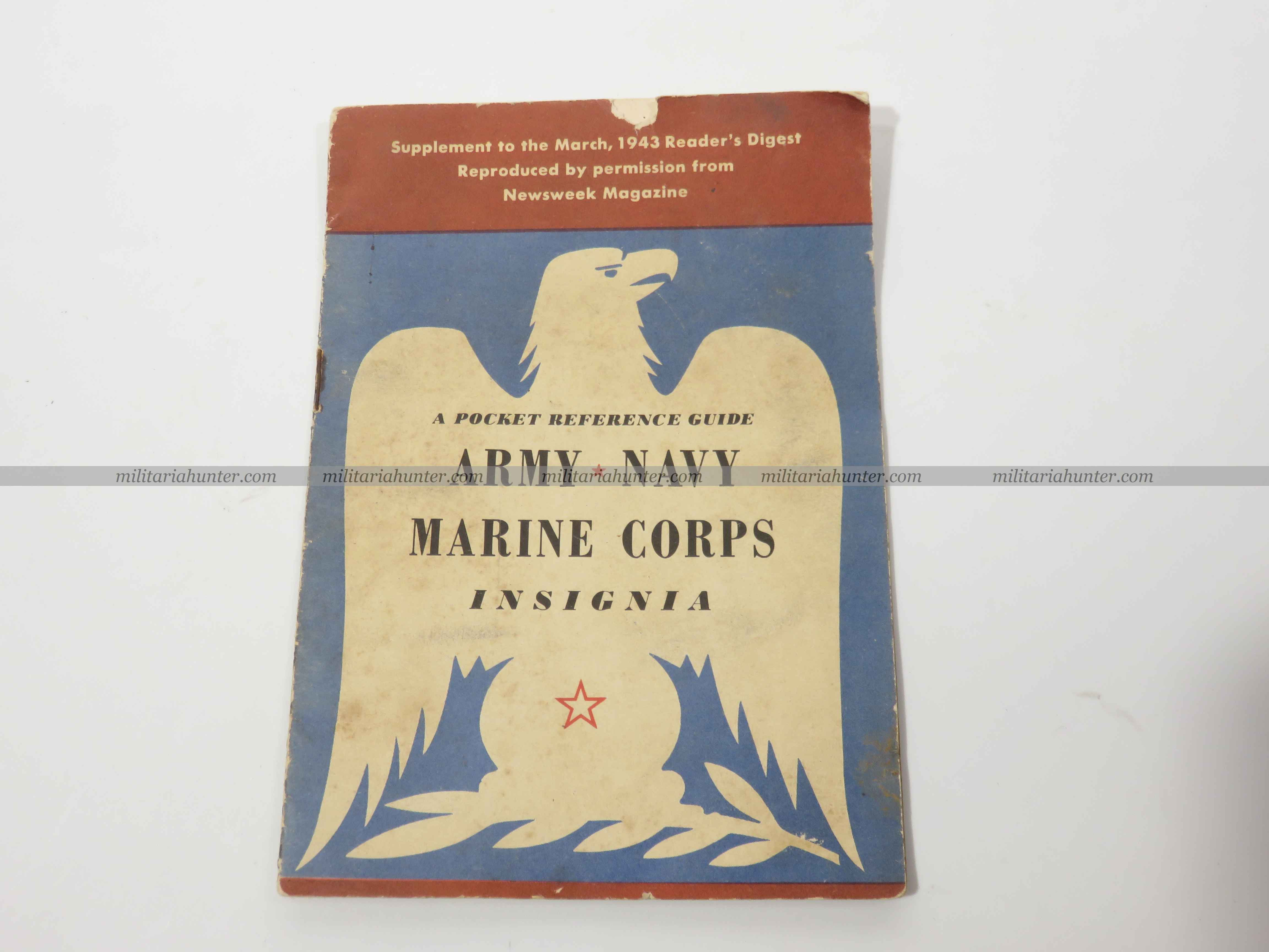 militaria : US ww2 pocket guide Army Navy Marines insignia 1943
