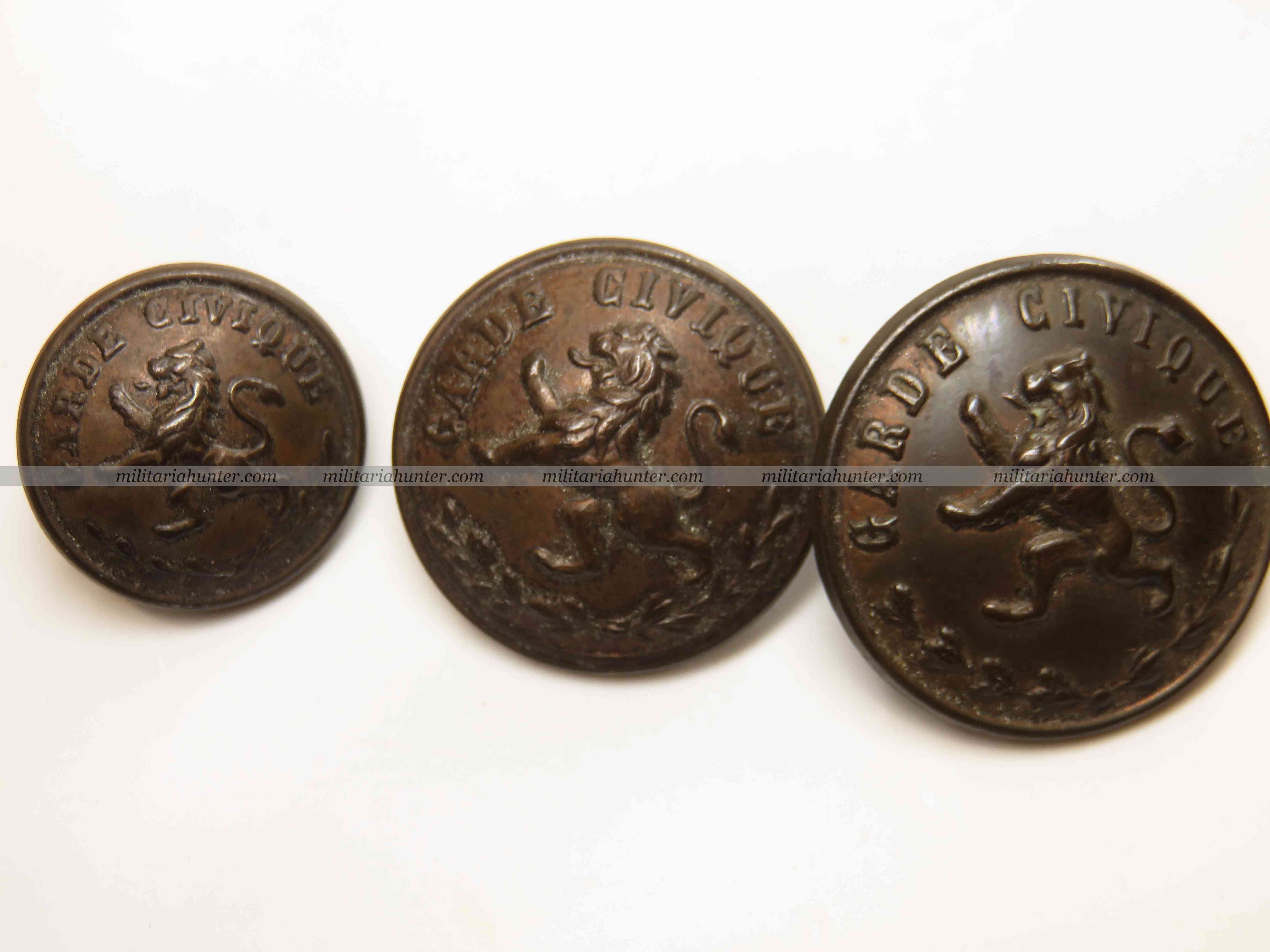 militaria : Belgique 1870-1914 lot de 3 Boutons Garde Civique