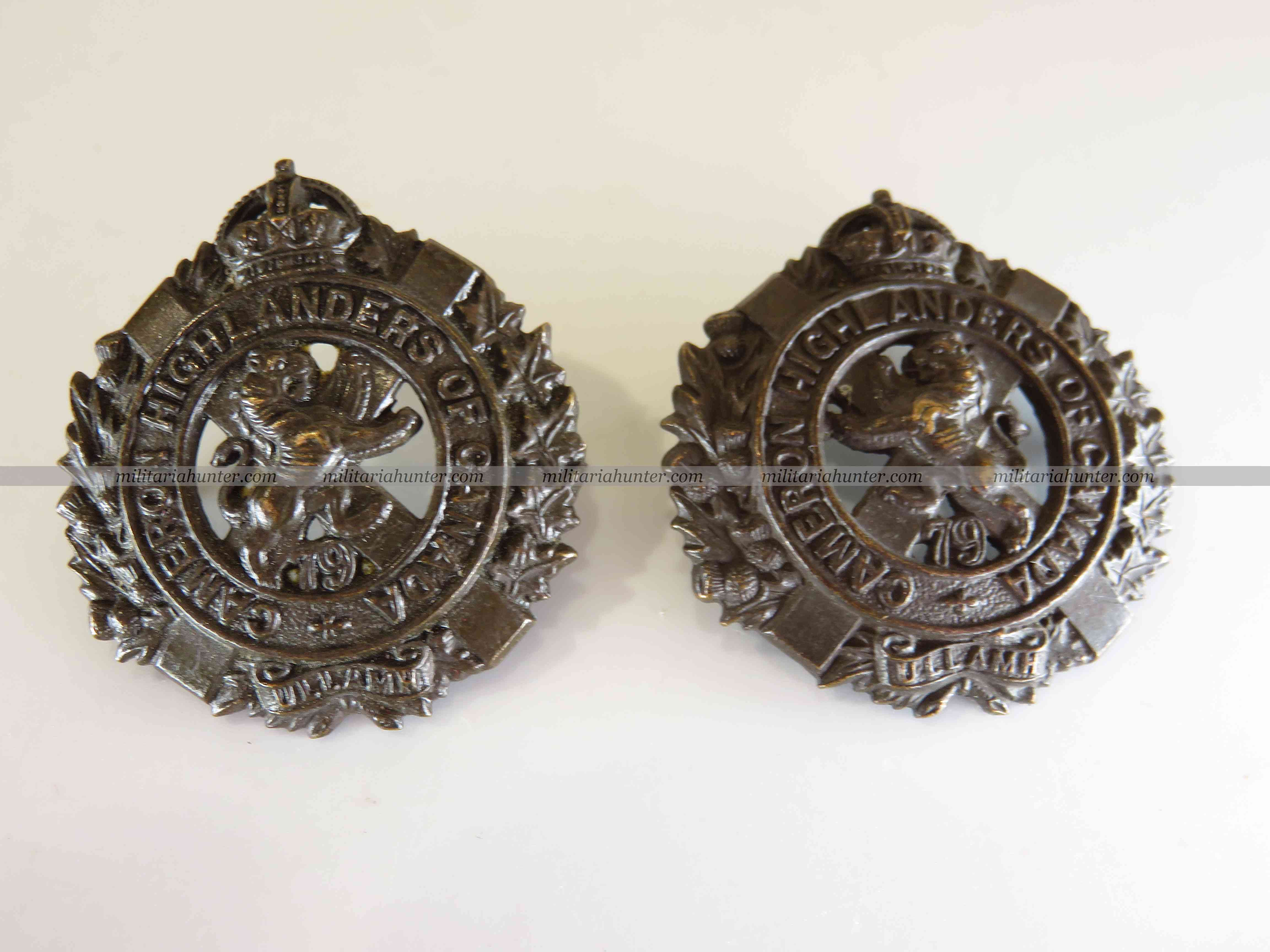 militaria : ww1 Cameron Highlanders of Canada officer collar insignia pair