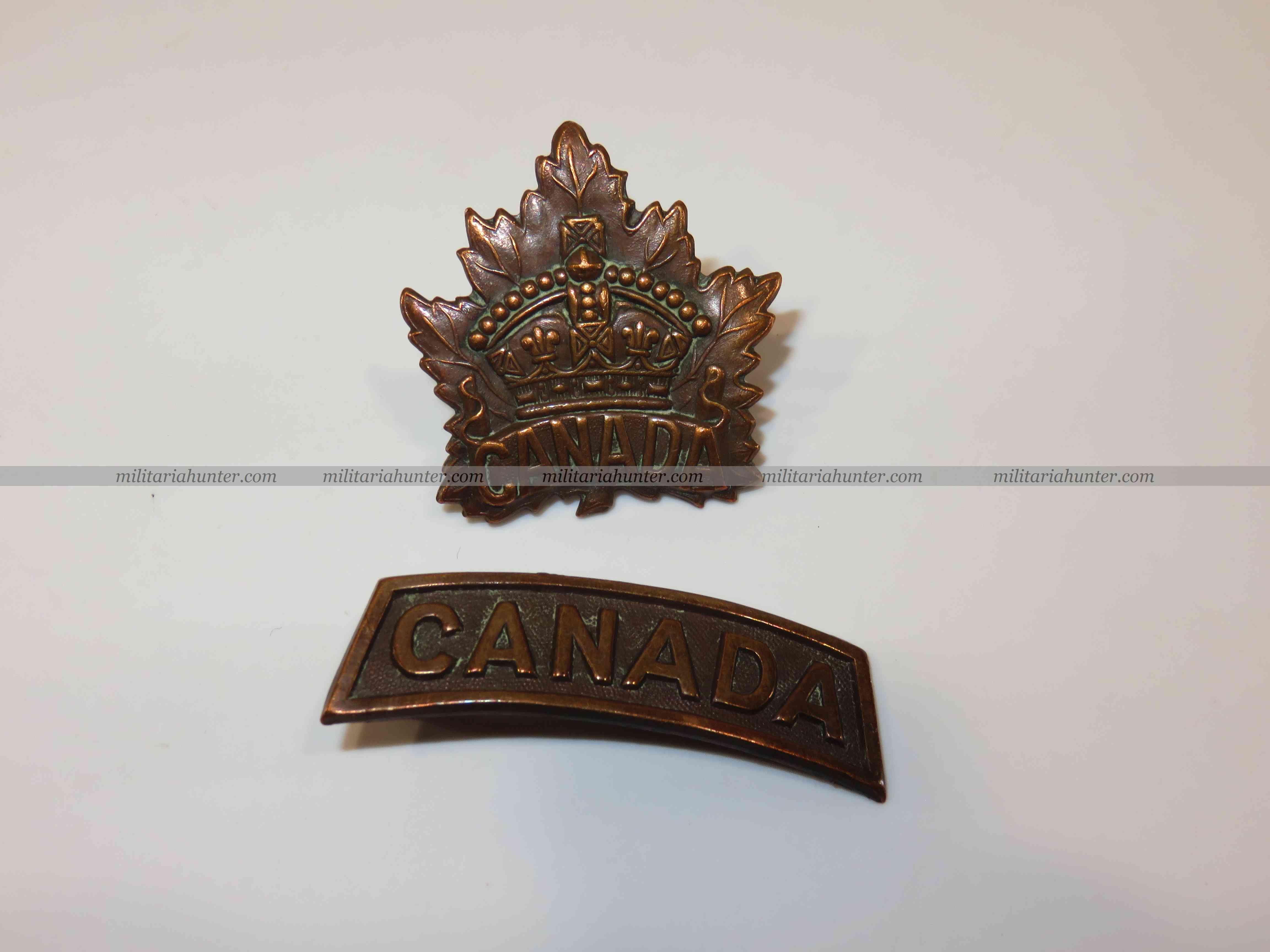 militaria : ww1 canadian cap badge and shoulder title