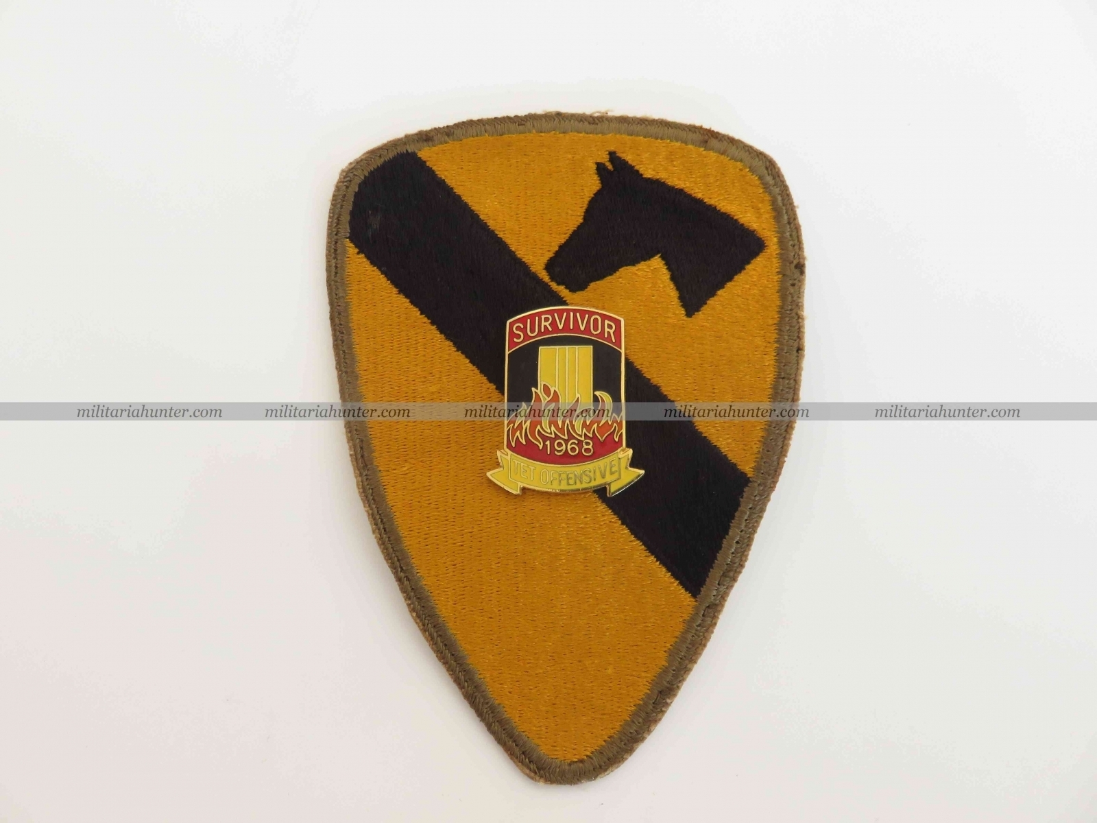 militaria : Vitenam original 1st Cavalry patch and Têt Offensive survivor pin