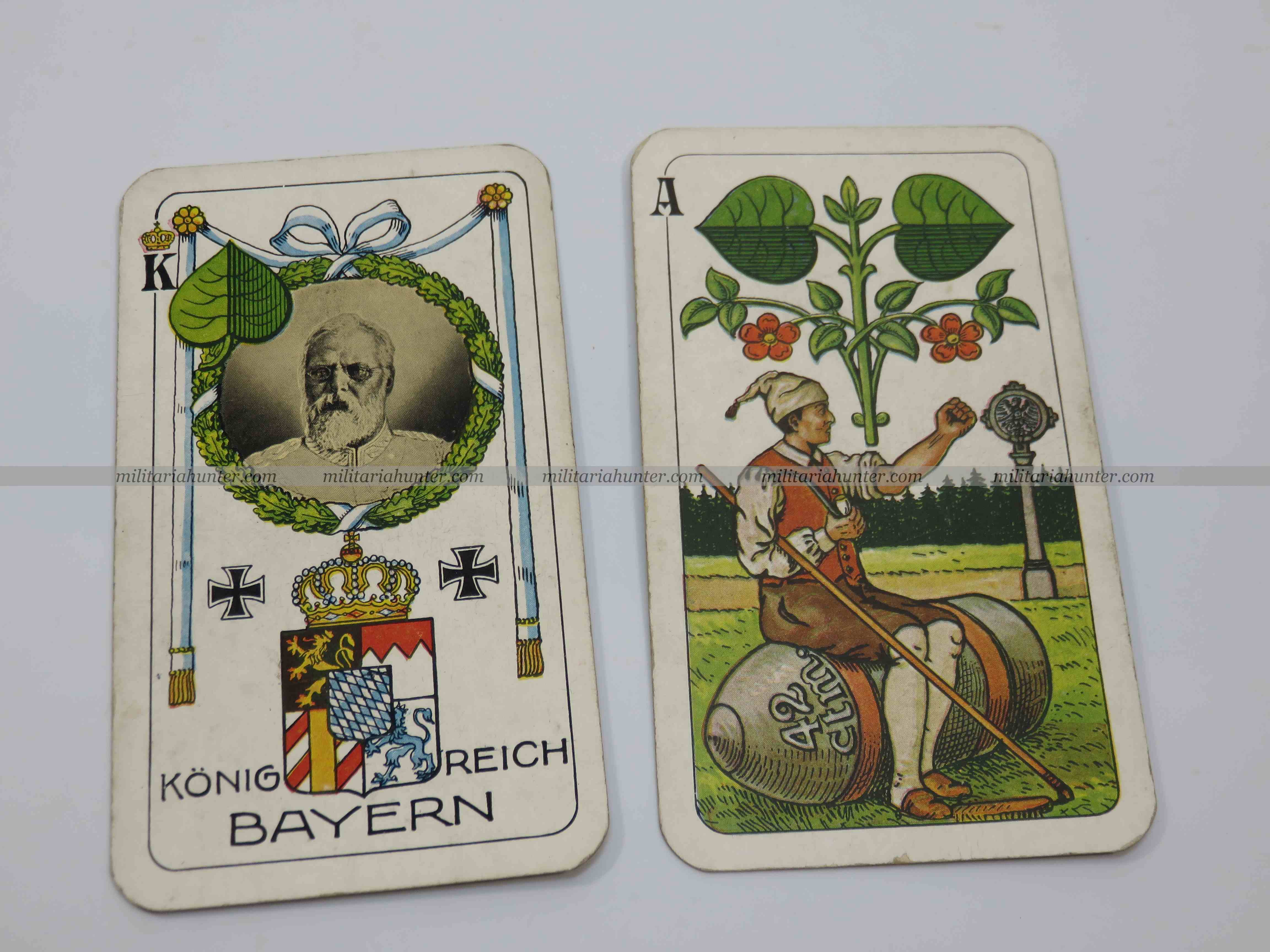 militaria : ww1 german playing cards - cartes à jouer motif croix de fer