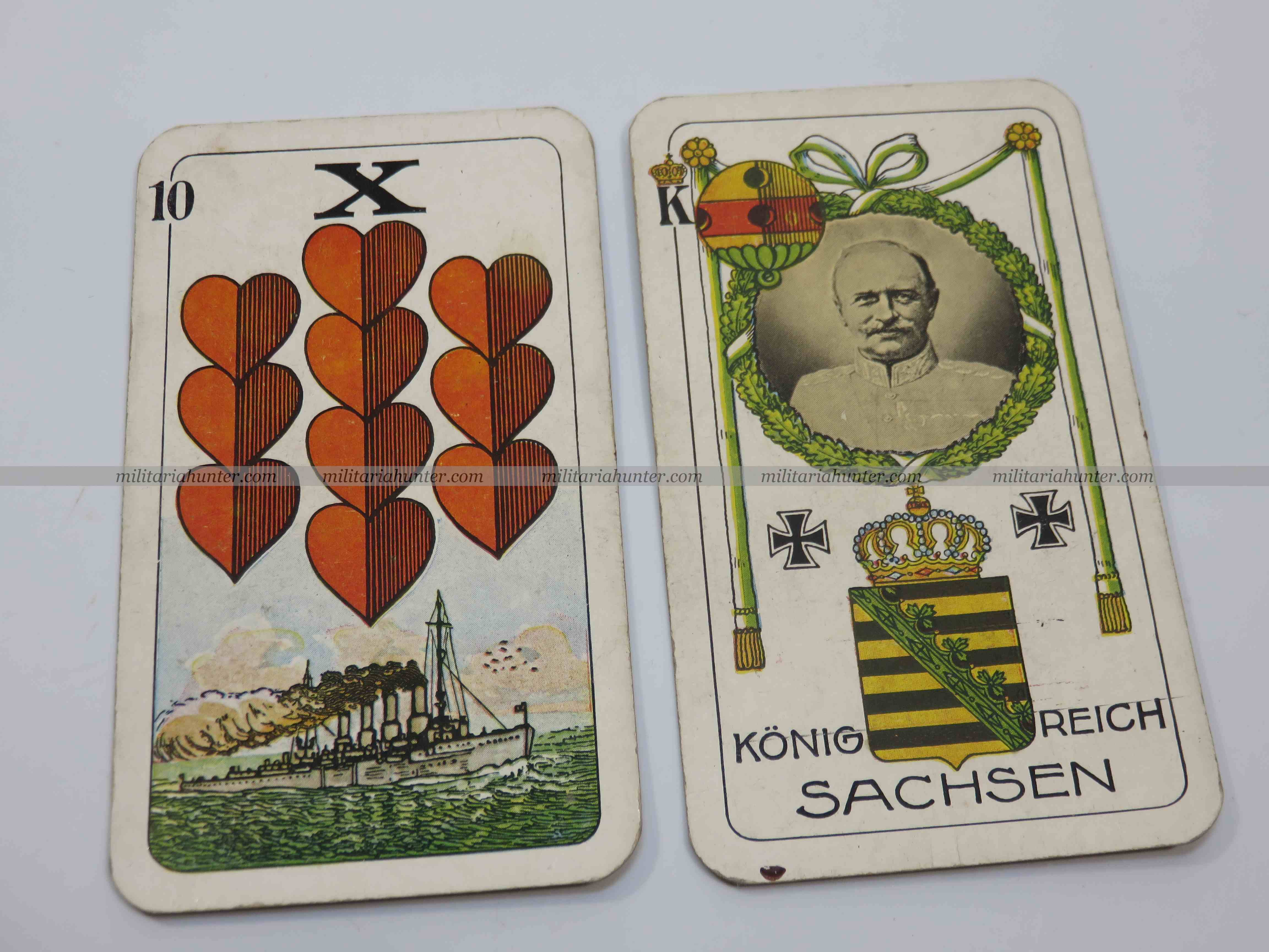 militaria : ww1 german playing cards - cartes à jouer motif croix de fer et Saxe