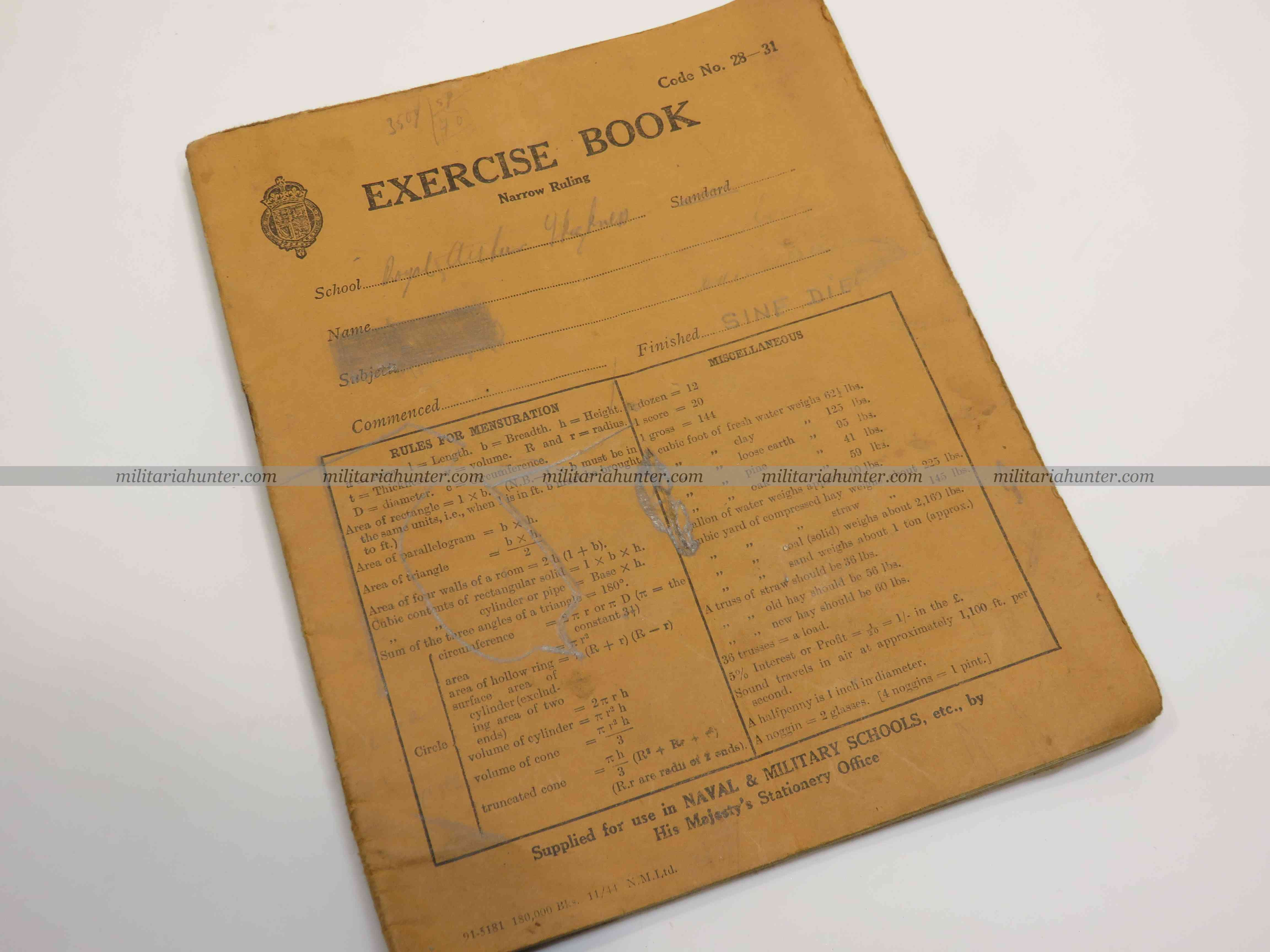 militaria : 1944 exercice book, Royal Air Force - cahier d'exercices instruction
