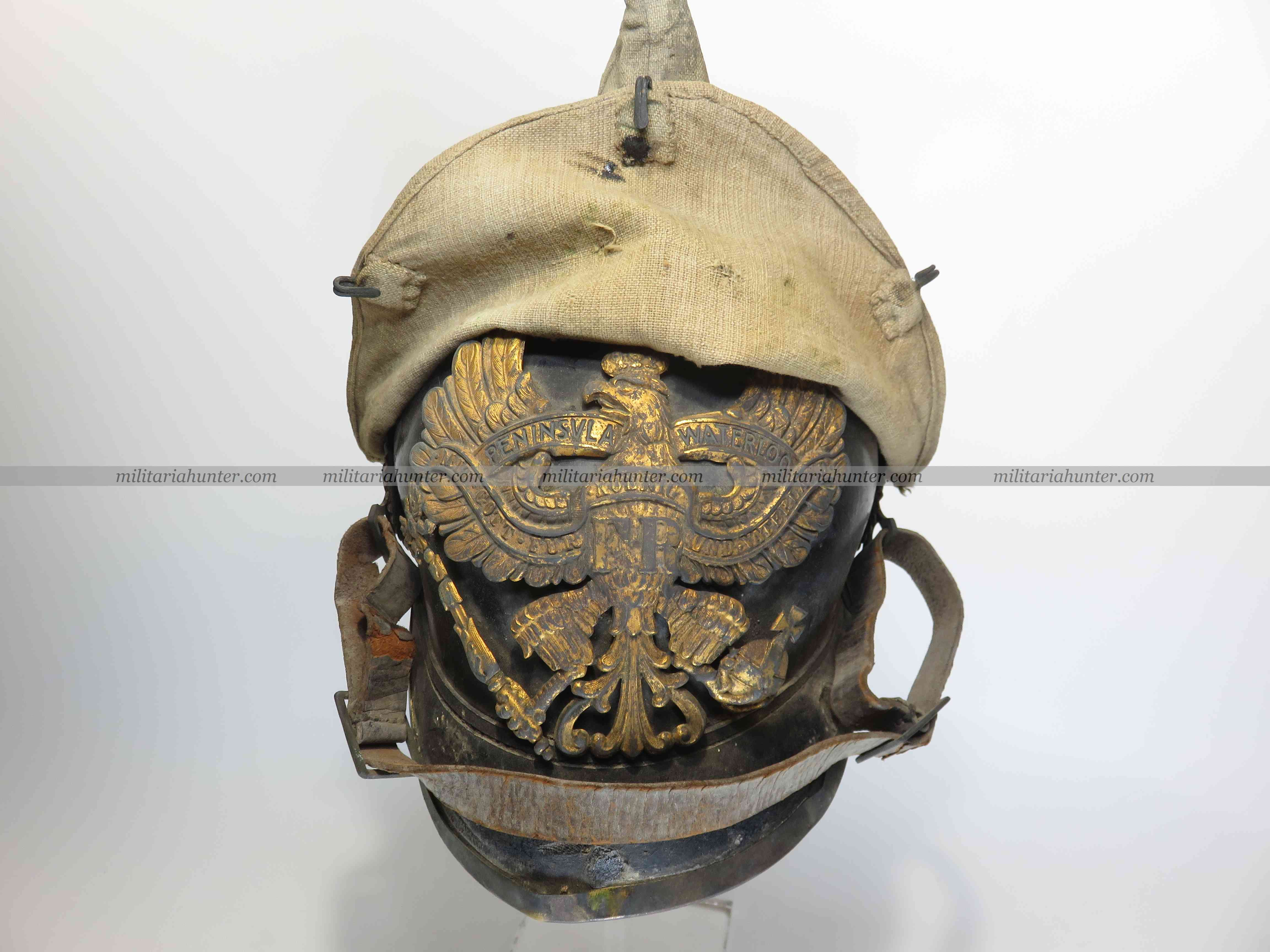 militaria : Hannover FR73 spiked helmet with cover, barn found !
